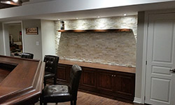 basement bar and guest entertainment area